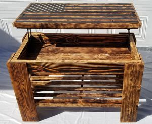 Handmade wooden American flag table with storage for Sale in Highland, CA