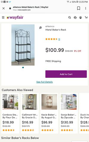 Metal bakers rack for Sale in Walton Hills, OH