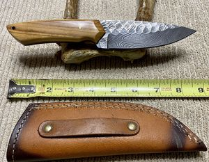 New Damascus steel blade with custom leather sheath for Sale in Fort Worth, TX