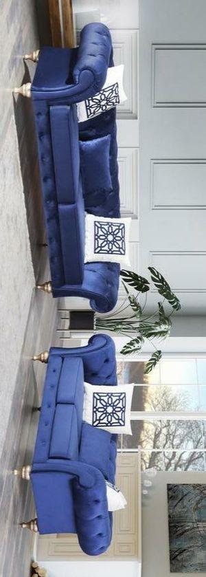 Loretta blue velvet sofa and loveseat for Sale in Houston, TX