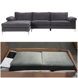 Mobilis Modern Large Microfiber Velvet Fabric L-Shape Sectional Sofa with Extra Wide Chaise Lounge, Gray for Sale in Tijuana,  MX