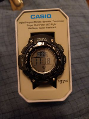 Casio digital compass altimeter barometer thermometer wacth no shipping. for Sale in Lock Haven, PA