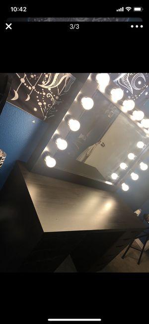 Black vanity desk/mirror - 10 drawers for Sale in Fresno, CA
