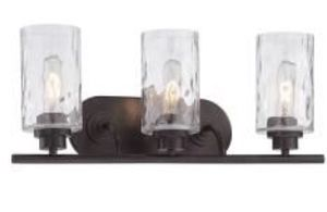 RUSTIC BRONZE VANITY 3-LIGHT FIXTURE WITH CLEAR GLASS for Sale in Houston, TX