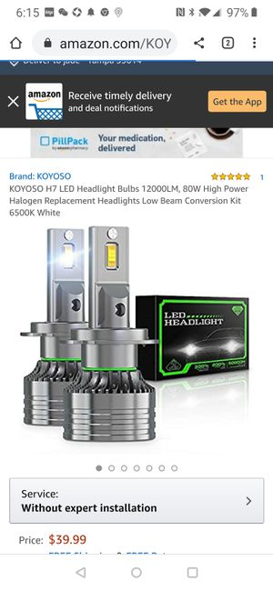 H7 LED Headlight Bulbs 12000LM, 80W High Power Halogen Replacement Headlights Low Beam Conversion Kit 6500K White for Sale in Tampa, FL