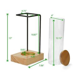 New Mind Reader Glass Canister with Bamboo Wood Base & Steel Wire Rack Holder Home or Office Coffee Tank Rack in Clear for Sale in Pasadena,  CA