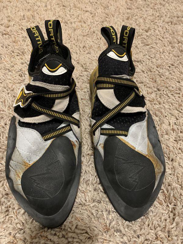 La Sportiva Men's Solution Rock Climbing Shoe - White/Yellow - 10 1/2 US / 45 EU