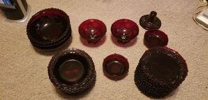 Set of 34 Piece Avon Cape Cod Ruby Red Dishware Set for Sale in Boca Raton, FL