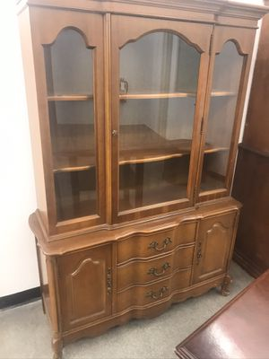 Antique solid wood hutch china cabinet French provincial display for Sale in Fontana, CA