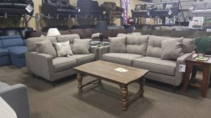Grey fabroc loveseat and sofa couch with pillows for Sale in Portland, OR