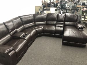 New Reclining Sectional Set. Brown Leather. Free Delivery! for Sale in Los Angeles, CA