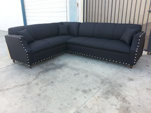NEW 7X9FT DOMINO BLACK FABRIC SECTIONAL COUCHES for Sale in Redlands, CA