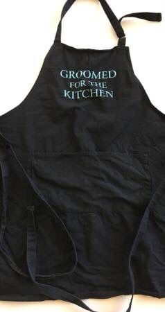 """Men's Male BBQ Grill / Cooking Funny Apron For Father Papa Husband Fiance Groom Spouse - """"Groomed For The Kitchen"""""""