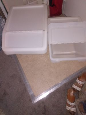2 plastic bins stackable for recycling or storage different sizes for Sale in Alexandria, VA