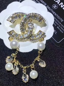 Rhinestone Gold CC With Pearls Brooch for Sale in Fremont,  CA