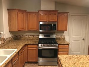 Complete kitchen for sale, counter top with island, kitchen cabinets kenmore stove and microwave kenmore all for Sale in Chula Vista, CA