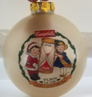 Vintage 1999 Campbell's Soup Glass Ornament with Box for Sale in undefined