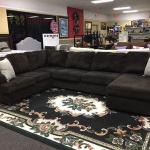 Ashley furniture brown sectional $389.99-As little as $55 down you could take your product home the same day call and ask as how!!! -located at hidden for Sale in Tampa, FL