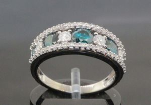 10K White Gold Vivid Blue Diamond Engagement Ring Wedding Band 2.15 ct #20548 for Sale in Lawrence, NY