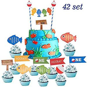 Suppar 42 Set The Big One Cake Topper,Gone Fishing Bobber Cake Cupcake Toppers, Ofishally One 1st Birthday for Sale in Altamonte Springs, FL