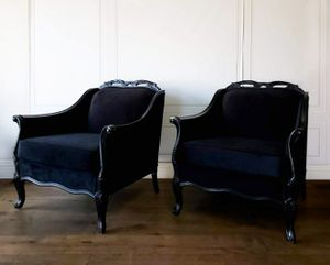 Glam French Provincial Black on Black Velvet Bergere Club Chairs Pair - delivered for Sale in Los Angeles, CA