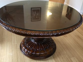 Solid Wood Glass-Top Dining Table for Sale in Portland,  OR
