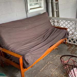 Wood Framed Futon With Mattress And Brown Cover. Seats 3 Comfortably. for Sale in Tacoma, WA