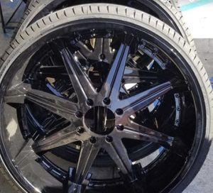 28x10 8x170 Ford dub big homie rims powder coated glossy black NEW Lexani tires 295/25/28 for Sale in Redondo Beach, CA