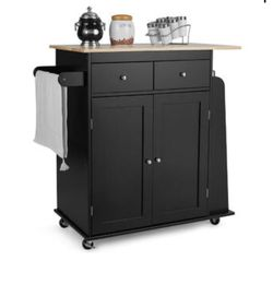 Black Rolling Kitchen Island Utility Trolley Cabinet Storage Spice and Towel Rack for Sale in Westminster,  CA
