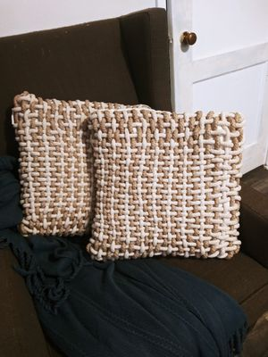 Rope Cross Stitching Accent Pillows! Pair of 2. Real rope. Heavy!!! Max Studio HOME. Farmhouse / Boho Style for Sale in Joliet, IL