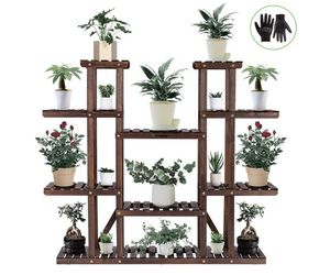 "48*10*4""9 Tier Wooden Plant Stand Carbonized 17 Potted Flower Shelf Display Rack for Sale in Monrovia, CA"