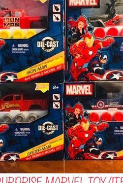 Set Of 4 Marvel Rebel Model Trucks+1 Mystery Bonus Marvel Collectible Toy for Sale in Pompano Beach,  FL