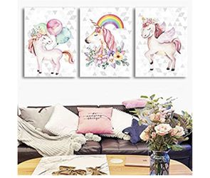 Brand New | Unicorns Canvas Bedroom Wall Decor Pink Rainbow Balloon Pictures Bathroom Living Room Poster Funny Cute Nursery Girls Children's Home De for Sale in Lutherville-Timonium,  MD