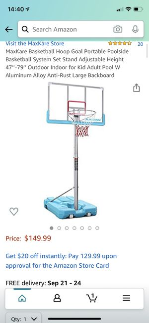 Nib MaxKare Basketball Hoop Goal Portable Poolside Basketball System Set Stand Adjustable Height 47''-79'' Outdoor Indoor for Kid Adult Pool W Alumin for Sale in Bothell, WA