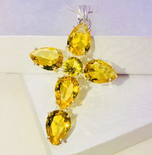 Natural Lemon 🍋 Yellow Tourmaline stones & .925 stamped sterling silver necklace NEW! for Sale in Carrollton, TX