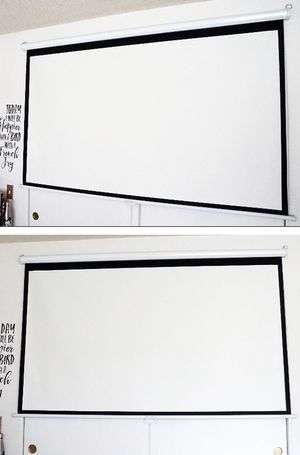 """(NEW) $45 Manual 100"""" 16:9 Projector Screen Manual Pull Down Matte White Viewing Area: 87""""x49"""" for Sale in Whittier, CA"""