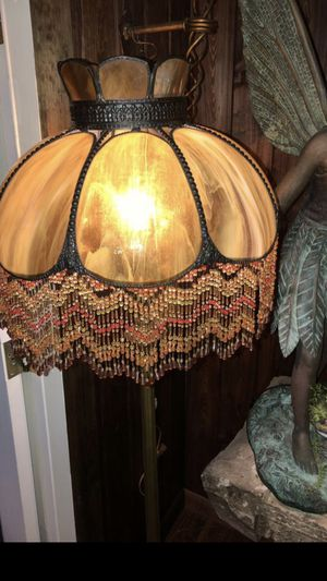 Vintage stained glass beaded floor lamp with light up marble base for Sale in Palm Harbor, FL