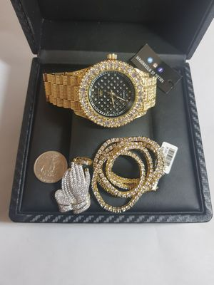 14K GOLD PLATED ICED OUT WATCH CHAIN COMBO for Sale in New York, NY