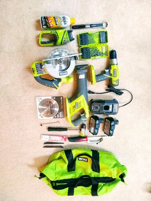 Ryobi full power tool set + charger, batteries: drill, saw, flashlight, reciprocating saw for Sale in Herndon, VA