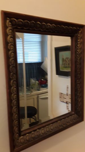Small, wall hanging, Wood framed glass mirror for Sale in Tacoma, WA