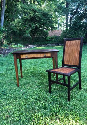 Unique Bamboo Slatted Extending Table and Matching Chair for Sale in Chevy Chase, MD