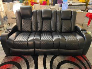 New!! Power Black Sofa Recliner w/ Power headrests • Apply from your phone 📱 • Available in our store! • Make your order for Sale in Las Vegas, NV