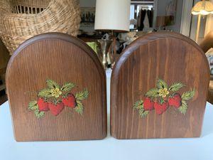 Fantastic Antique Solid Wood Book-Ends w/Strawberry Design for Sale in Atlanta, GA