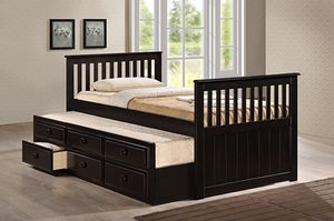 Twin Mission Style Captain Bed (Fully Slated) with Trundle and Drawers, Cappuccino Finish for Sale in Santa Ana, CA