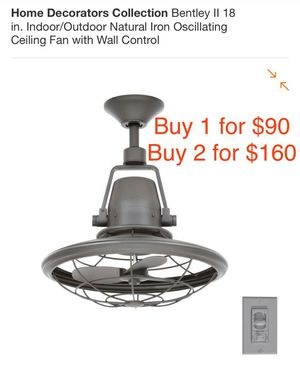 """Bentley II 18"""" Indoor Outdoor Oscillating Ceiling fan with wall control Buy 2 for $160 for Sale in Canoga Park, CA"""