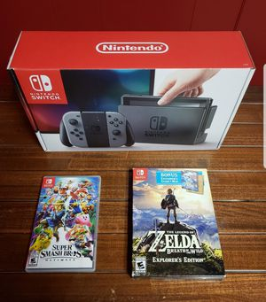 Gray Nintendo Switch, Smash Ultimate, Breath of the Wild Explorer's Edition, and Zelda amiibo cards for Sale in Parma, OH