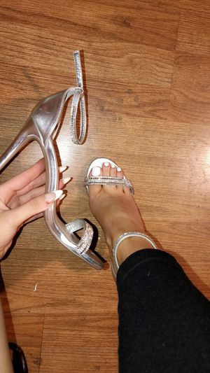 Silver diamond strap heels for Sale in Los Angeles, CA