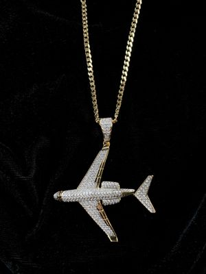 NEW PRIVATE JET FULL DIAMONDS CZ 18K GOLD CHAIN for Sale in Miami Beach, FL