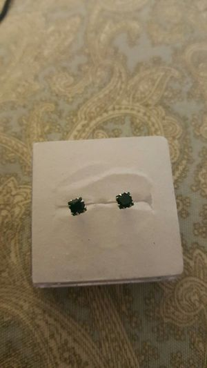 Real silver emerald small stud earrings for Sale in Moreno Valley, CA