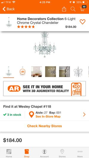 Six light chandelier Canterbury Park collections chrome finish for Sale in Lithonia, GA